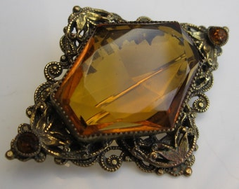 Antique Topaz Brooch - Victorian Edwardian Filigree - Faceted Stone 1900s