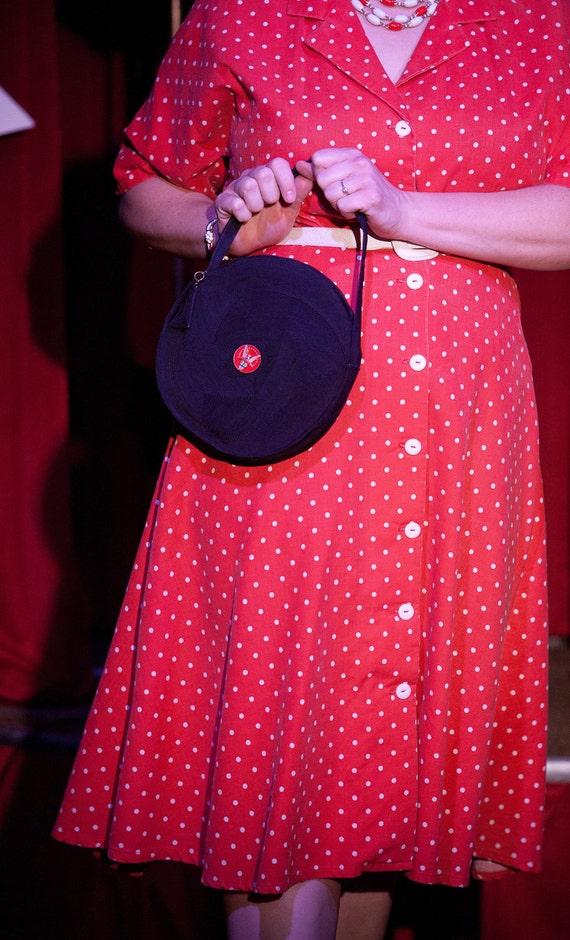 Vintage 1950s Large Red Dress Polka Dot Pique Shirt Dress 48-36-50 XL
