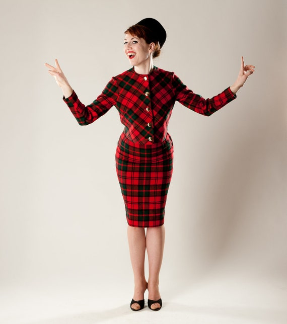 Vintage 1960s Red Plaid Suit Green Pencil Skirt Mad Men Fall Fashions
