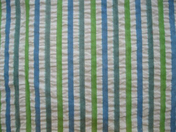 Vintage 1950s Cotton Seersucker Fabric Yardage Blue Green White Sewing Supplies