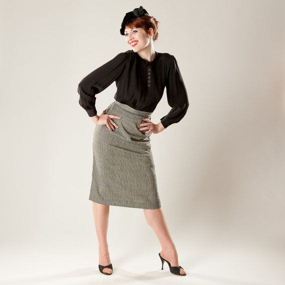 Vintage 1950s Pencil Skirt Tweed Woven Fall Fashions 1940s
