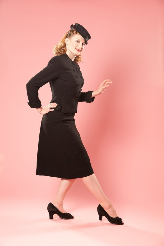 Vintage 1940s Wool Crepe Suit Black 1950s Fall Fashions