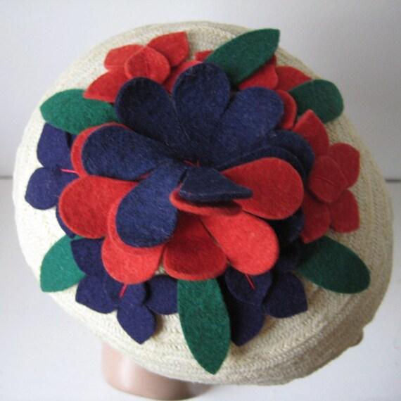 Vintage 1930s Straw Hat Floral Wool Felt Trim Red Blue Green Spring Fashions