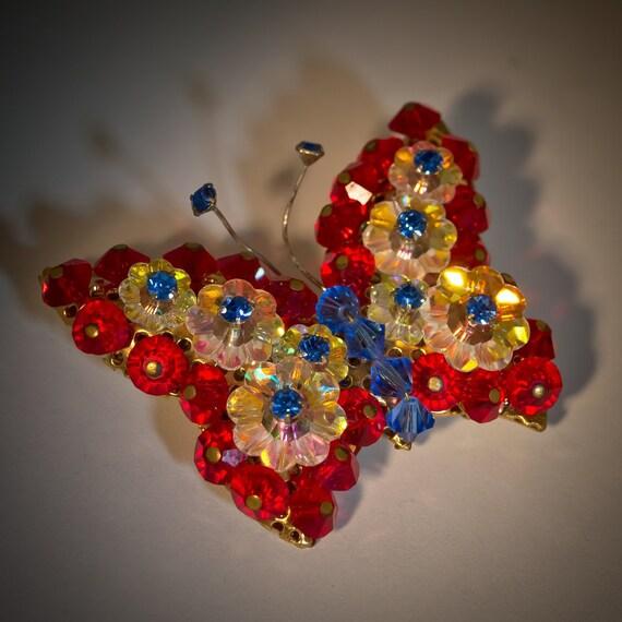 Vintage Brooch 1960s Rivoli Butterfly - Red White Blue Crystal Pin
