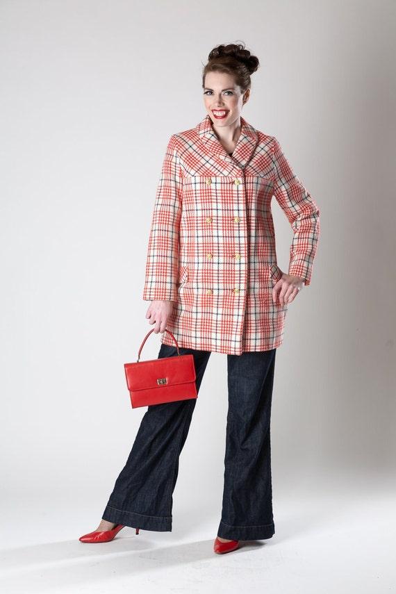 RESERVED Vintage 1960s Red Plaid Coat Houndstooth Tweed Wool Spring Fashions