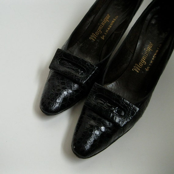 Vintage 1950s Shoes Black Alligator I. Magnin High Heels Buckle Fall Fashions