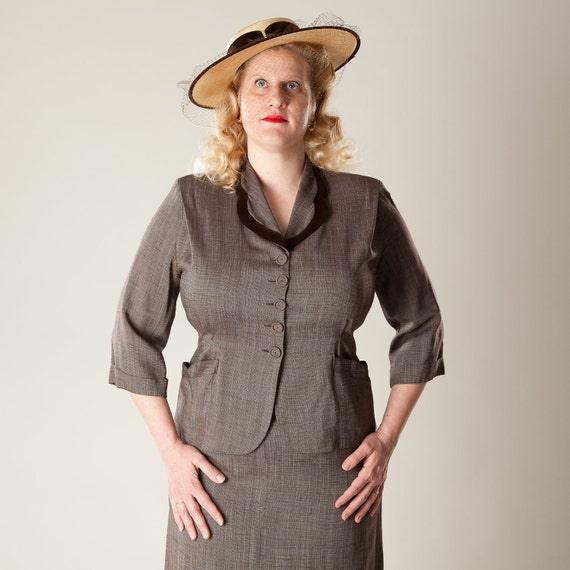 RESERVED Vintage 1940s Brown Skirt Suit Large XL Plus Size Fall Fashions 1950s