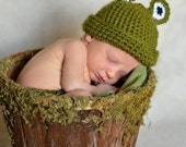 Infant Frog Beanie & Diaper Cover Set.  MADE TO ORDER
