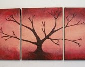 "fine art wall sculpture Painting Texture Abstract tree of life artwork ""Red Wood""  3 panel paintings original wall hanging kunst 48 x 20 """