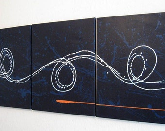 """triptych painting original abstract affordable wall art hanging """"Big Blue"""" 27 x 12 """" canvas art 3 panel art three panel contemporary office"""