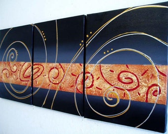"triptych textured  painting black gold art wall canvas modern acrylic abstract paintings on canvas grey modern ""Circular Symphony"" 27 x 12"