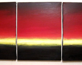 """Original large wall canvas triptych house warming gift Abstract painting  Contemporary Fine Art sunrise you are my sunshine Large 48 x 20"""""""