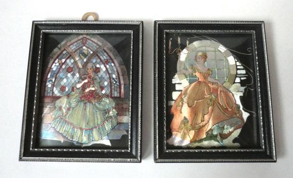Two VINTAGE Foil Pretty LADY Framed PRINTS