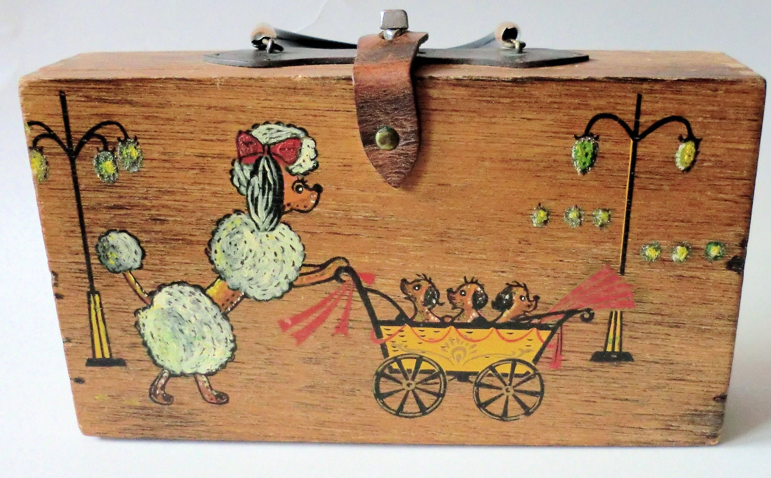 Vintage Wooden Poodle Purse