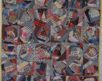 Crazy quilt.Country style.Wine Cork buttons.Handmade details.Recycled