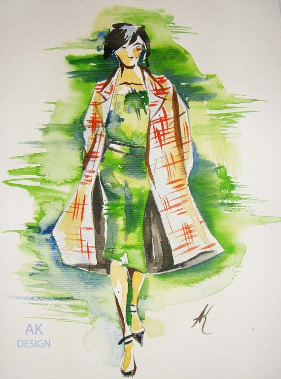 This classy print made from the watercolor drawing caught model in the motion. Watercolor sketch.Size 12x9