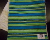 Blue and Green Striped Chenille Burp Cloth- Super absorbant, soft and sassy