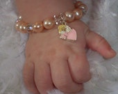 Sweet Angel Baby Bracelet- with a sterling silver lobster clasp and 1 inch extender chain to grow with baby- great christmas present- READY TO SHIP