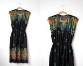 vintage 70's HOT TROPICS Open Front Dress