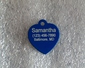 Laser Engraved Pet ID Tag -- Medium Heart shaped -- 2-sided  (Made in the USA)