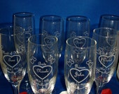 Engraved Wedding Toasting Glasses - Set of (6) - Champagne Flutes - Personalized