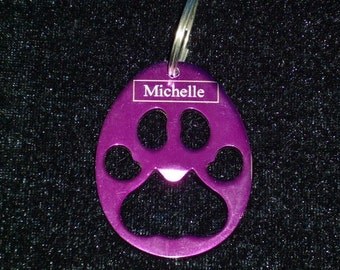 Paw Shaped Keychain w/  Bottle Opener --  Laser Engraved -- Personalized