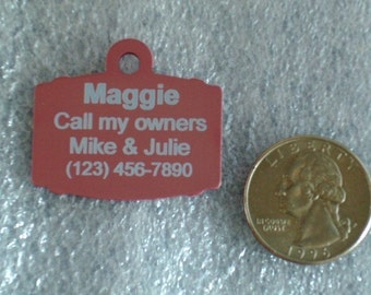 Laser Engraved Pet ID Tag -- Large Barrel shape -- 2-Sided  (Made in the USA)
