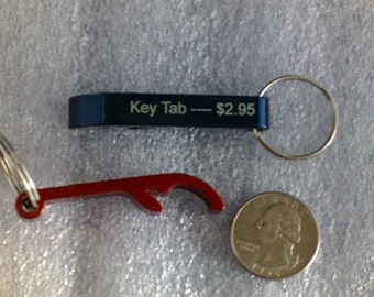 Beverage Tab Keychain with Can or Bottle Opener -- Personalized -- Laser Engraved