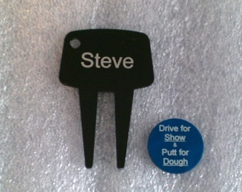 Laser Engraved -- Divot Tool / Ball Marker Set -- Personalized -- (Made in the USA)