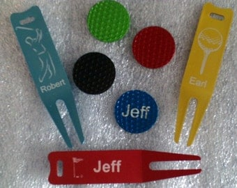 Laser Engraved --  Divot Tool / Ball Marker Set -- Personalized / Slim -- ( Made in the USA)
