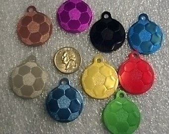 Sports Bag Tag - Soccerball -  Laser Engraved - Personalized - Made in the USA