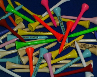 Personalized Golf Tees (2-1/8) -- (Multi-colored lot)  --  Personalized for your event (100 pcs)