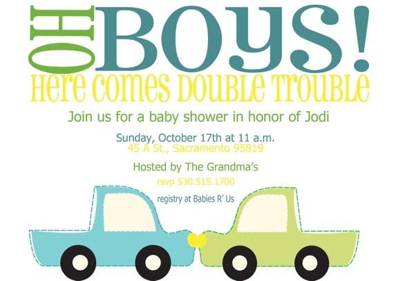 oh boys twin boy baby shower invitation print by reesiepie, Baby shower invitations