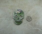 Day of the Dead Sugar Skeleton Skull Necklace Pin Wood Focal
