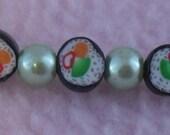 Mini SUSHI Roll Bracelet Elastic Polymer Clay Kawaii Salmon, avacado Maki with Wasabi green pearl beads