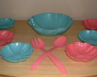 LoVely 50's PINK and AQUA Plastic 9pc HOFMANN SALAD/SERVE SET WoW