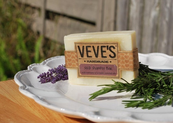 Rosemary and Lavender Solid Shampoo Bar, soap by Veve's Handmade