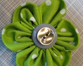 Green Polka Dot Fabric Flower with double button
