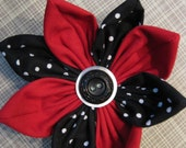 Red and Black Polka Dot fabric Flower