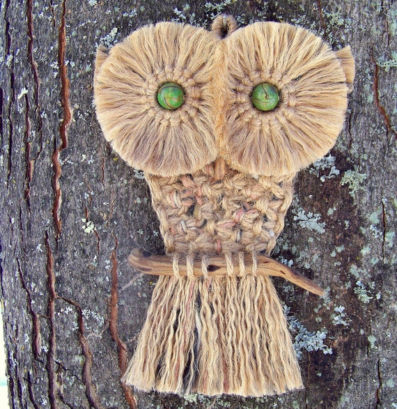 Macrame Owl Wall Hanging Made With Vintage Wood Beads