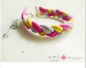AMI - recycled/upcycled tshirt bracelet - shocking pink