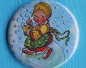 BUY 1 GET 1 FREE SALE OOAK Little Bubble Girl Vintage Storybook Pocket Mirror
