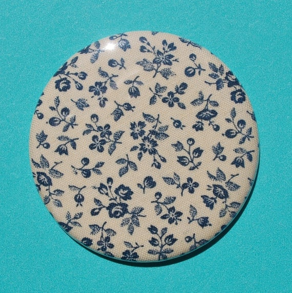 Buy 1 Get 1 Free Navy Floral Fabric Pocket Mirror
