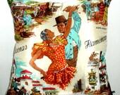 Spanish Flamenco Dancers Vintage Souvenir Scarf Cushion Cover Large Original