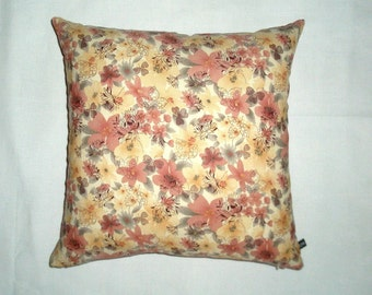 Dusty Pink Floral with Overprint Cushion Cover - French Stripe Reverse