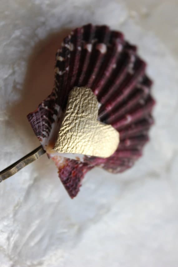 Scallop Shell Bobbi Pin with leather metallic heart