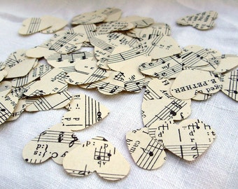 Vintage Sheet Music Hearts - Confetti - Table Decoration