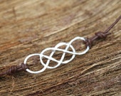 Double Infinity Leather Bracelet - Silver, Rose or Yellow Gold Filled