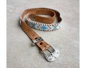 Vintage Diamond Stripe Beaded Leather Skinny Belt