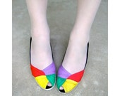 Reserved - Colorblock Espadrilles Vintage Peep Toe Wedge Sandals Size 8